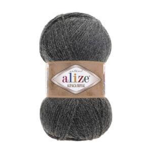 Пряжа Alize Alpaca Royal-182 Темно-серый меланж