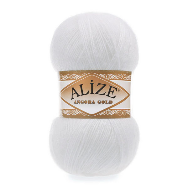 Пряжа Alize Angora Gold - 55 белый